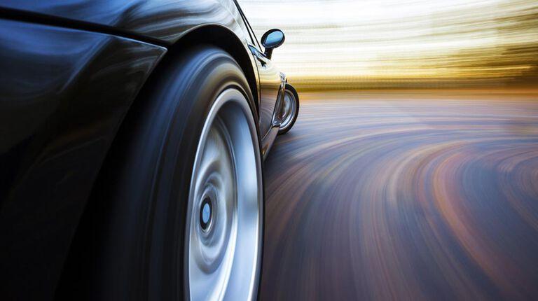 Performance vehicle on road