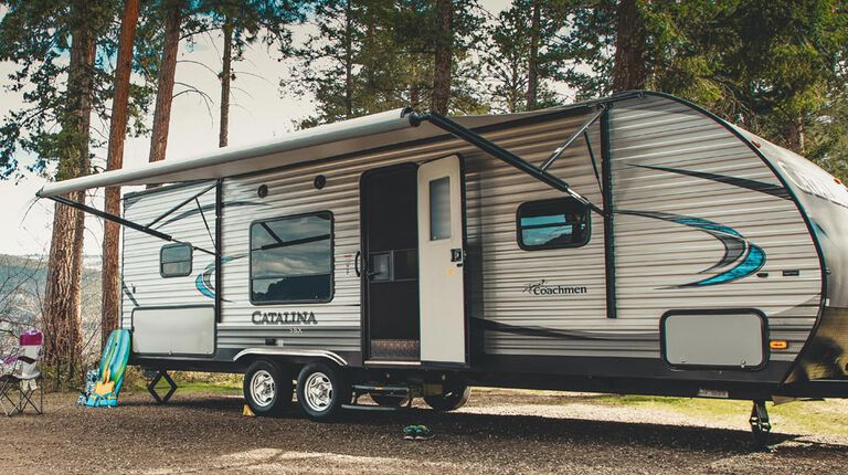 Travel Trailer set up for camping