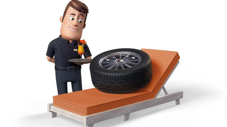 Kal offering a tire a summer drink