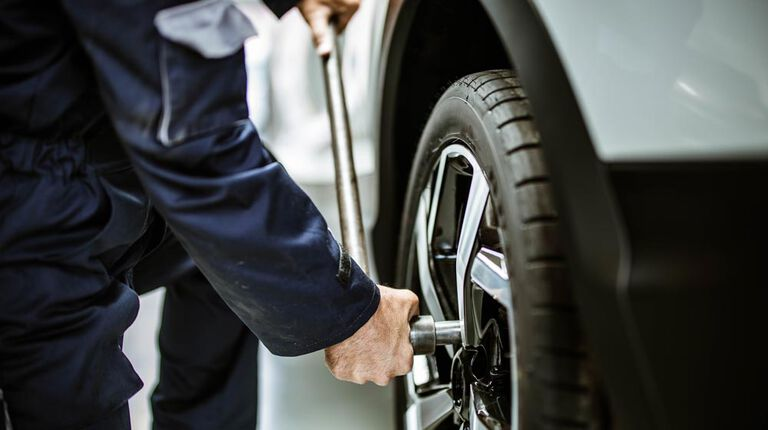 repairing a flat tire