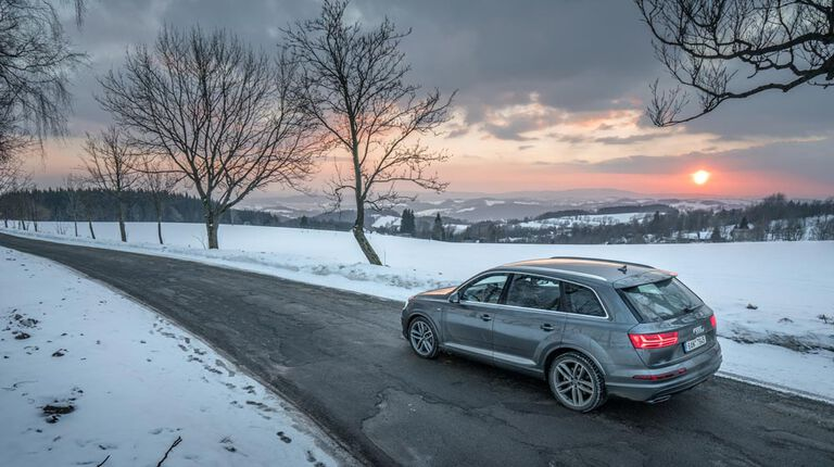 The best year round tire on vehicle on winter road